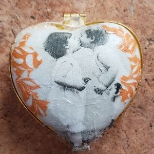 Hand Decorated Heart Shaped Jewelry Box